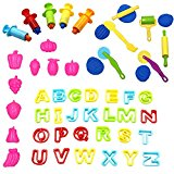 KisSealed 46 Pcs Clay Dough Tools Kit with Models and Molds with Clay Extruders ,Capital Letters,Fruit Mold and Dough Tools