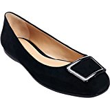 Judith Ripka Suede Slip-on Flats Faux Buckle Vamp Sally Black 9.5M NEW A270335