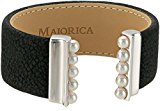 Majorica 5 mm White Round Pearls On Black Leather Bangle Bracelet