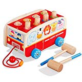 Tohibee Super Fun Bus Whack-a-mole Early Education Building Blocks Wooden Toddler Toys Tohibee