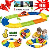 Race Car Tracks for Kids,Flexible Tracks with Electronic Car,Creat A Road,96 Piece Train Track Set for Boys,Party Game Toys,Gift for Boys Girls Toddlers Aged 3 4 5 6 Years Old, 2 Dinosaur Play Card BooTaa