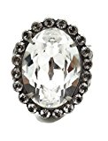 Sorrelli Faceted Oval Cut Clear Crystal Collection Antique Silvertone Ring Adjustable