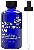 Radha Beauty Eucalyptus Essential Oil 4 oz - 100% Pure & Therapeutic Grade, Steam Distilled for Aromatherapy, Relaxation, Shower, Sauna, Bath, Steam Room, Pain Relief, Congestion, Stress Relief Radha Beauty