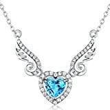 Sterling Silver and Heart Natural Swiss Blue Topaz Gemstone Angel Wings Pendant Necklace