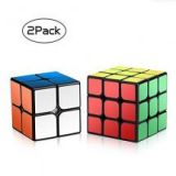 Pack of 2 Magic Smooth Puzzle Speed Cube Set By Roxenda - 2x2x2 3x3x3