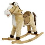 Derby Rocking Horse Ride on With Moving Mouth by Rockin' Rider - Beige