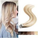 Remy Tape in Human Hair Extensions Highlighted Ash Blonde mixed Bleach Blonde - 16inch