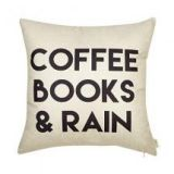 Coffee Books and Rain Motivational Inspirational Quote Cotton Linen Home Decorative Throw Pillow Case Cushion Cover with Words for Book Lover Worm Sofa Couch, 18 by Fjfz