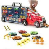 Detachable Car Carrier Toy Truck with 6 Toy Cars and Accessories For Kids by Prextex - 21