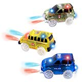 AUKND Tracks Cars Replacement Light Up Toy Car Track Accessories Toys Racing Car with 5 Flashing LED Lights Compatible with Most Tracks for Boys and Girls Best Gifts 3Pack AUKND