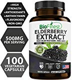 Biofinest Elderberry Extract (Sambucus) - with Anthocyanins - Pure Gluten-Free Non-GMO - Made in USA - Herbal Supplements for Blood Sugar Health, Skin Care, Bowel Health (100 Vegetarian Capsules) BioFinest
