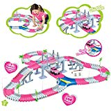 Liberty Imports Create A Road Super Snap Speedway | Magic Journey Flexible Track Set | Ideal Gift Toy for Toddlers, Kids, Boys, and Girls (Princess Pink (168 Pcs)) Liberty Imports