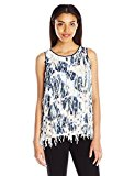 Clover Canyon Sportswear Women's Georgette Fringe Top, Floral Waves, Medium