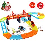 Alture Track Car Toys, 360 PCS Track Cars Set 2 Race Cars 1 Hanging Bridge Racing Car Toy Set Other Traffic Accessories, Lights up Track Car Toys for Kids Children Hand-Eye Coordination Alture