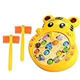 Xshion Percussion Toy, Whack-a-Mole Game with Music and Hammers(Cartoon Tiger) for Kids Xshion