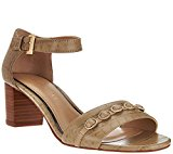 Judith Ripka Leather Block Heel Toe Sandals Isabella Taupe Croco 9M NEW A276360