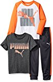 PUMA Little Boys' Three Piece T-Shirt and Pant Set, Puma White, 5