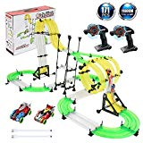 Racing Track Car Toys - 171PCS 1180CM Double RC Car Race Track Set, High Speed Rail Car Track Set Slot Car with 3D Track, 2 RC Cars& 2 Controllers DIY Assembly Toys for Kids on Party Game SOMKTN