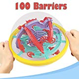Sunshinehomely Labyrinth Puzzle Brain Teaser Game 3D Maze Ball Toy 100 Barriers for Kids Sunshinehomely