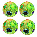 WElinks 4Pcs Luminous Green Magic Rainbow Ball Cube 3D Fidget Toys Puzzle Brain Teasers Stress Reliever Magic Ball Color-Matching Game Fidget Puzzle Ball Challenging Puzzle Speed Cube Ball Xmas WElinks