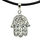 925 Sterling Silver HAMSA HAND Pendant + Black Shiny Leather 18-20 Inch 1.5mm. Necklace Lobster Clap Lock