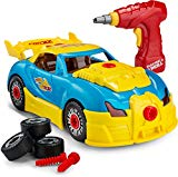 Toydaloo Self-Assemble 30-Piece Racing Kids Car Toy, Sounds Lights - Includes Mini Power Drill and Screws Toydaloo