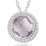 Sterling Silver Round Close to colorless and transparent Amethyst Natural Gemstone Pendant Necklace for Women