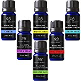 Radha Essential Oil Blends Set - 100% Pure and Natural Kit for Aromatherapy Pirates of the Sea, Stress Free, Rest & Relax, Breathe Easy, Cheer, Happy Citrus, great Gift - 6/10 ml