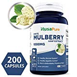 Best White Mulberry Leaf Extract 1000mg 200 Capsules (No Fillers, Non-GMO & Gluten Free) Natural High & Low Blood Sugar Control, Weight Loss Support - 100% Money Back Guarantee! NusaPure