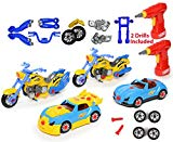 Take Apart Racing CAR & MOTORCYCLE Toys - Build Your Own Toy with 52 Piece Constructions Set - Both Car & Motorcycle Comes With Engine Sounds & Lights & Drill With Toy Tools For Kids Building Greation