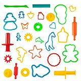 Kiddy Dough 24-Piece Tools Party Pack w/Animal Shapes – Mega Tool Playset Includes 24 Colorful Cutters, Molds, Rollers & Play Accessories + 2 BONUS Surprise Extruders For Play Dough
