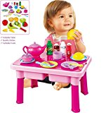 FUNERICA™ Pretend Play Table with Toy Dishes Set | Cuttable Play Fruits | Full Tea Set and More | Makes a Great Gift for Toddlers, Boys, and Girls