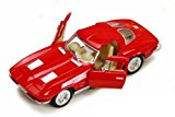 New 1:38 KINSMART DISPLAY - RED 1963 CHEVROLET CORVETTE STINGRAY Diecast Model Car By KINSMART