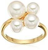 Majorica 6/7/8mm White Round Pearl Cluster On A Gold Plated Steel Ring, Size 7