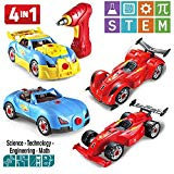 Prextex 4 in 1 Build Your Own Racer Car Set STEM Toy with Real Working Drill and Screws 53 Piece Take-A-Part Toy for Boys and Girls with Lights and Sounds Prextex
