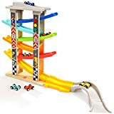6 Car Ramps Wooden Ramp Racer for Kids - TOP BRIGHT Toys with 6 Wood Racing Car 1 Parking Lot & Extra Bridge TOP BRIGHT