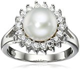 Bella Pearl Halo Pearl Ring, Size 6