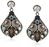 Sorrelli Core Antique Silver Tone Crystal Rock Novelty Embellished Drop Earrings