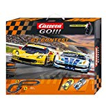 Carrera GO!!! GT Contest  - Slot Car Race Track Set - 1:43 Scale - Analog System - Includes 2 Racing Cars: Ferrari and Chevrolet Corvette - Two Dual-Speed Controllers with Turbo - for Ages 8 and Up Carrera