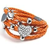 KONOV Stainless Steel Heart Charms Braided Leather Womens Bracelet, White Silver Orange