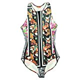 Clover Canyon Women's Floral One Piece Neoprene Swimsuit (M, Multi Color)