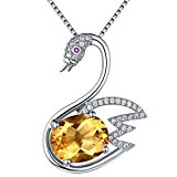 Sterling Silver and Natural Gemstone Citrine Swan Pendant Necklace