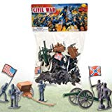 50 PC DELUXE CIVIL WAR TOY SOLDIERS PLAY SET - THE UNION v. CONFEDERATE ARMIES - SOLDIERS - CANNONS - FLAGS & MORE FACTORY SEALED McToy