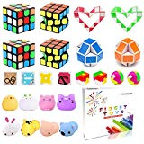 Party Favor Pinata Filler,Treasure Chest,Mini Magic Cube,Brain Teaser Puzzle Boxes,Mochi Squishies,Snake Twist Puzzle,IQ Puzzle Toy,Treasure Box Prizes For Carnival Prizes,Goodie Bag Fillers,Classroom Rewards H-Partner